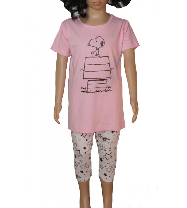 PEANUTS Girls Printed Capri Pyjama Set