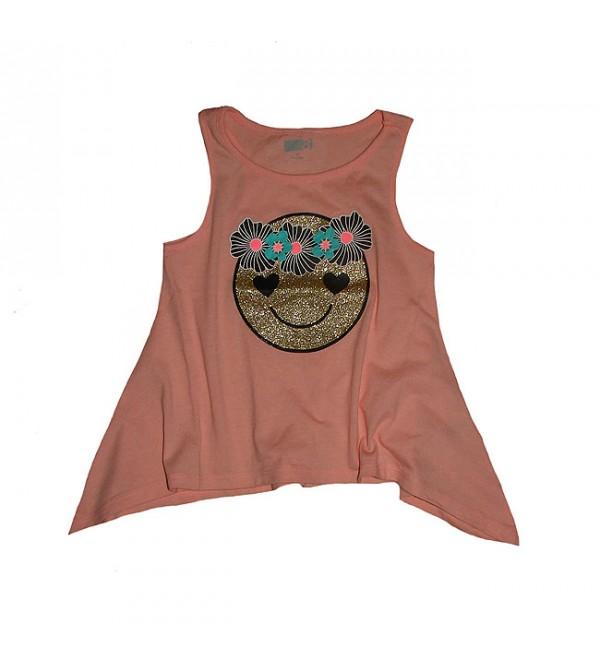Girls Sleeveless Glitter Printed T Shirt