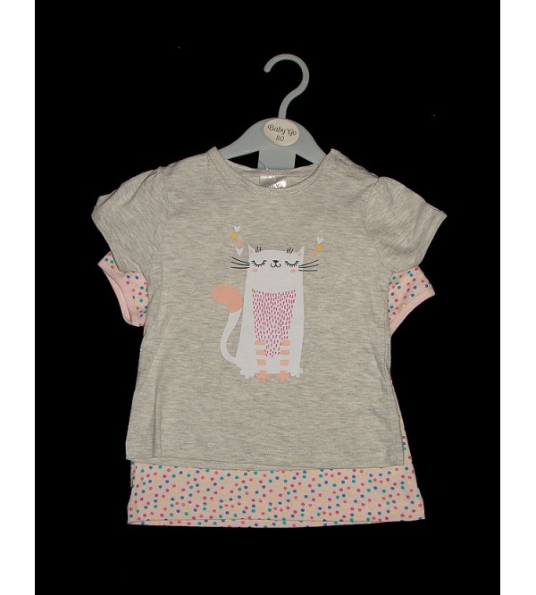 Baby Girls Printed T Shirts 2 Pcs Hanger Pack