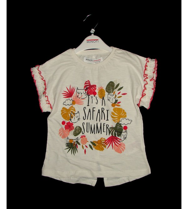 Girls Printed Fancy Top With Frill Trims