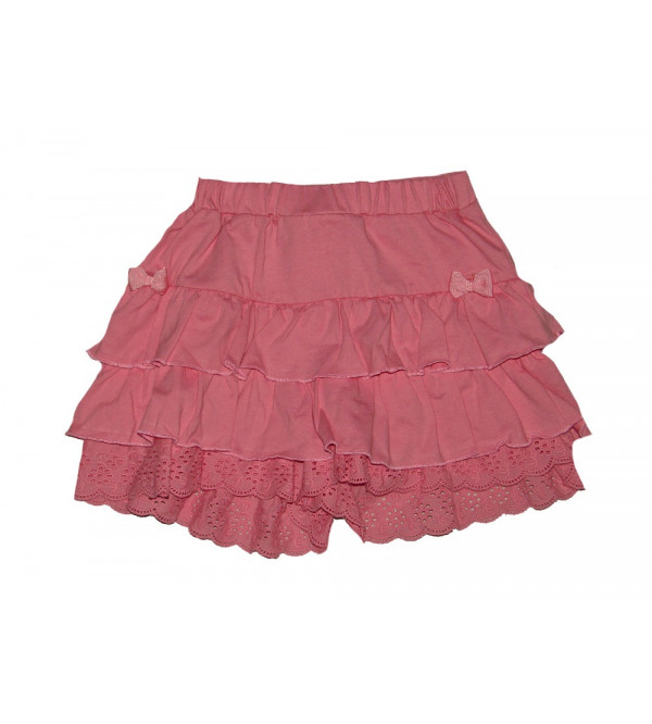 Girls Ruffled Knit Skirts With Bow