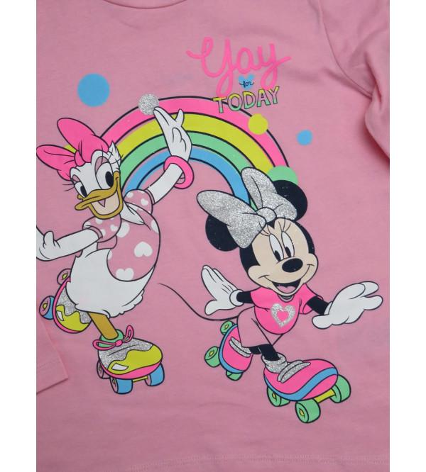 Minnie n Daisy Duck Girls Glitter Printed T Shirt
