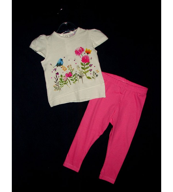 Girls Printed 2 pcs Set (Cap Sleeve T Shirt + Stretch Leggings)