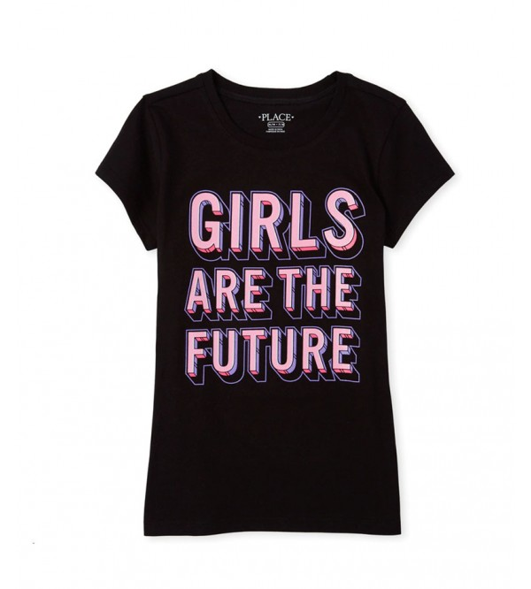 Girls are the Future Girls Glitter Printed T-Shirt