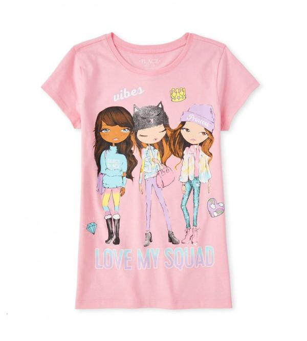 Place Girls Glitter Printed T Shirts