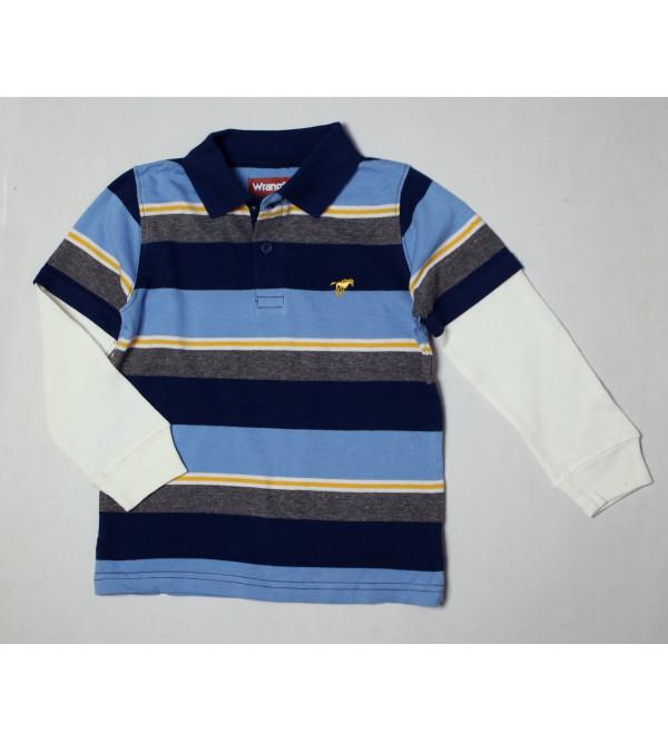 Wrangler Boys Striped Polos With Waffle Sleeve