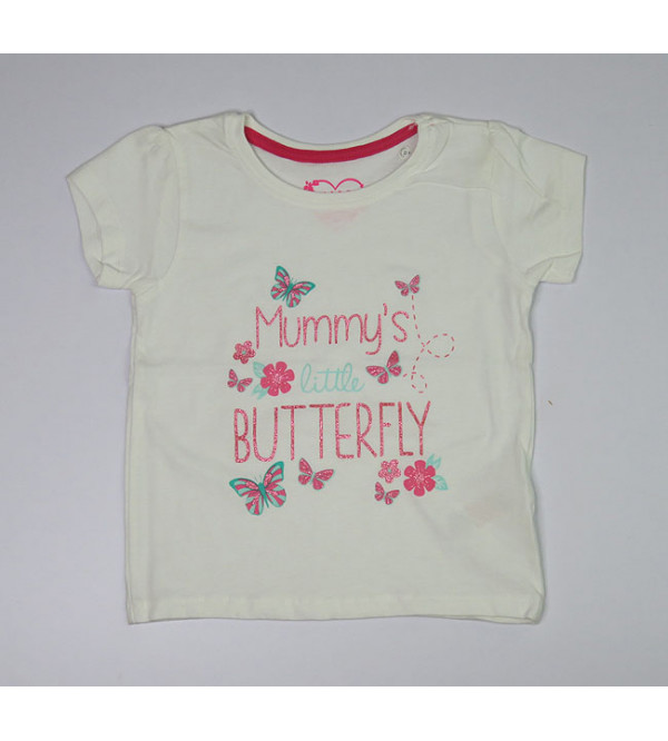 Little Butterfly  Girls Glitter Printed Top