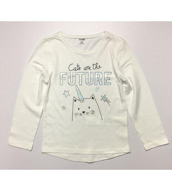 Cat Future Girls Printed T Shirt