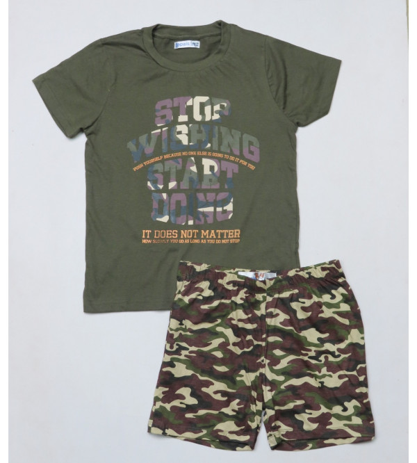 Boys Printed Shorty Pyjama Set