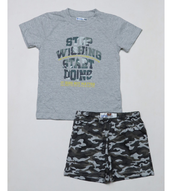 Boys Printed Shorty Pyjama Sets