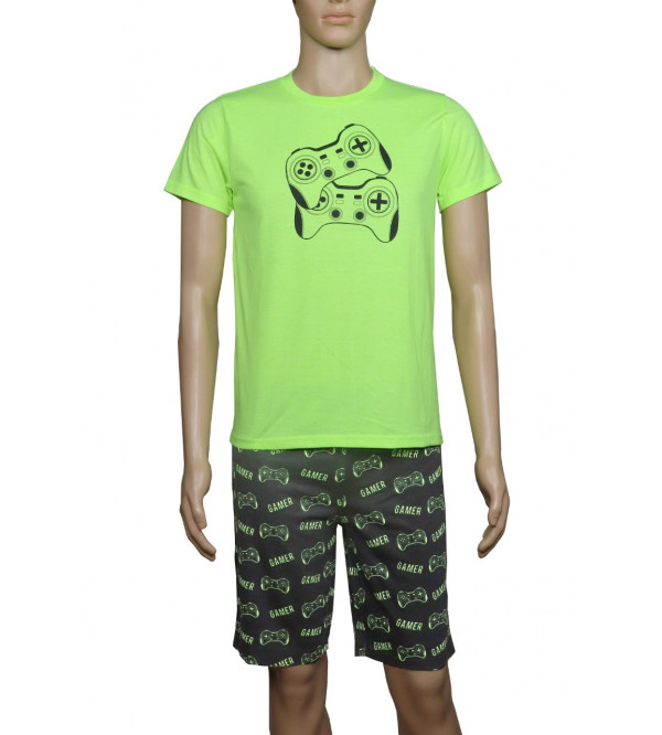Older Boys Printed Shorty Pyjama Set