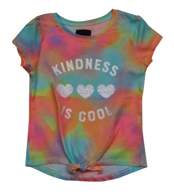 Kindness Glitter Printed Girls T Shirt