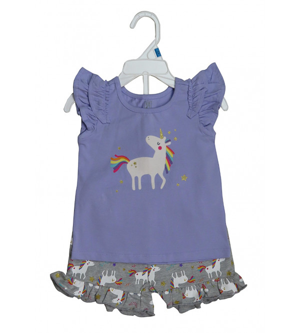 Girls Printed 2 Pc Set (T Shirt + Shorts)