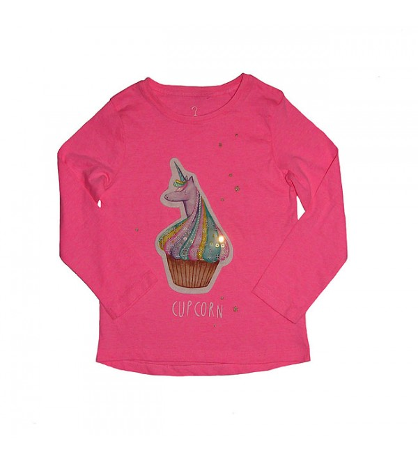 Girls Long Sleeve Sequin With Applique T Shirt