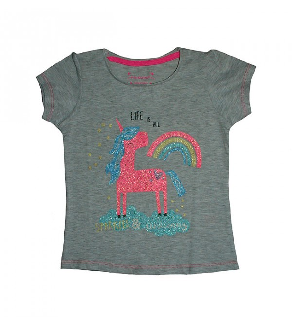 Girls Short Sleeve Glitter Printed T Shirt