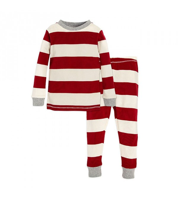 Baby Boys and Girls Striped Snug Fit Pyjama Set