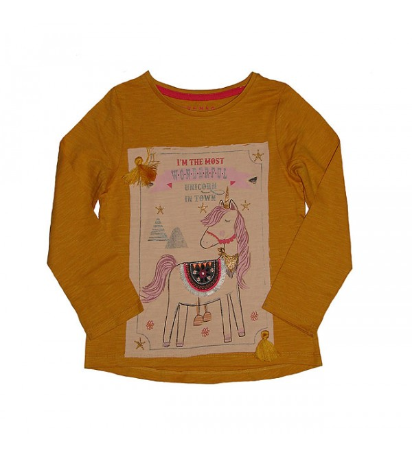 Girls Long Sleeve Glitter Printed T Shirt