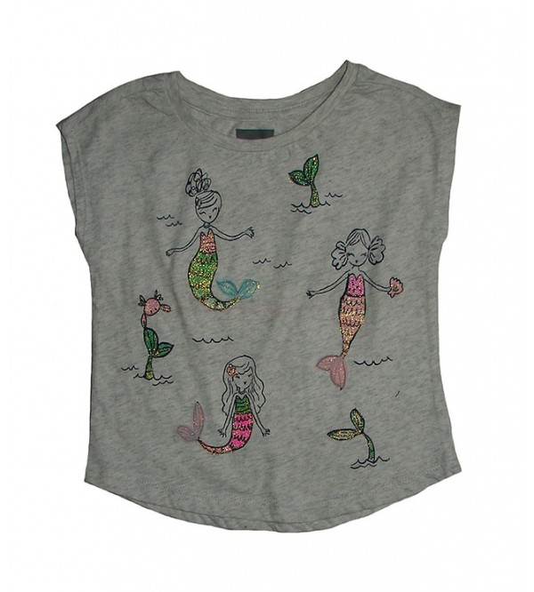 Mermaid Girls Glitter Printed T Shirt
