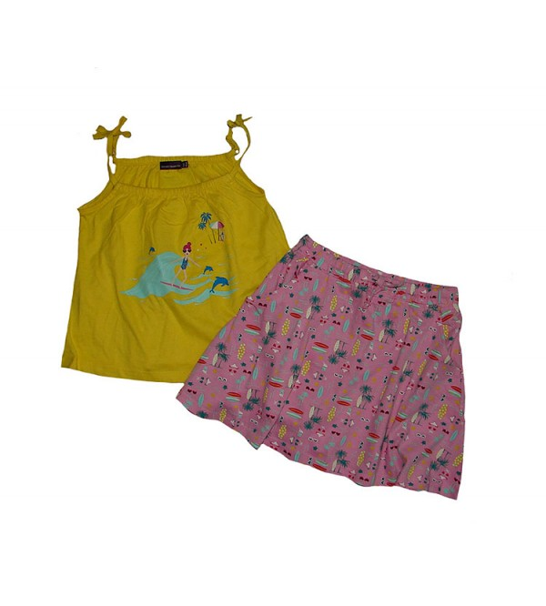 Girls Printed 2 pcs Set (Strappy Top + Skirt)