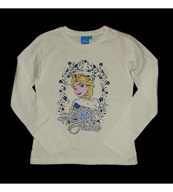 DiSNEY Girls Long Sleeve Glitter Printed T Shirt