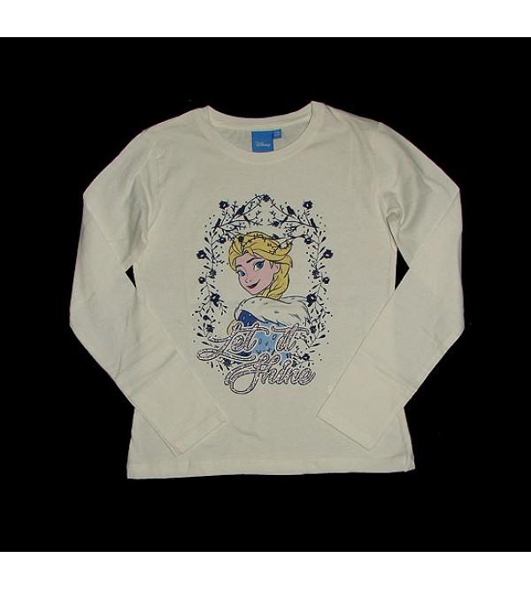 DiSNEY Girls Long Sleeve Glitter Printed T Shirts