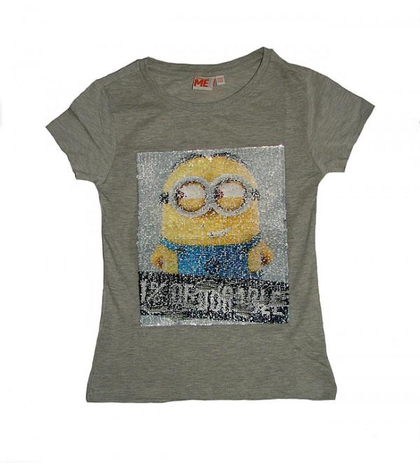 MINION Girls Short Sleeve Reversible  Sequinned T Shirt
