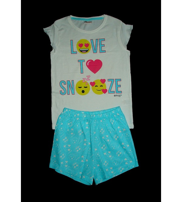 Emoji Printed Girls Shorty Pyjama Set