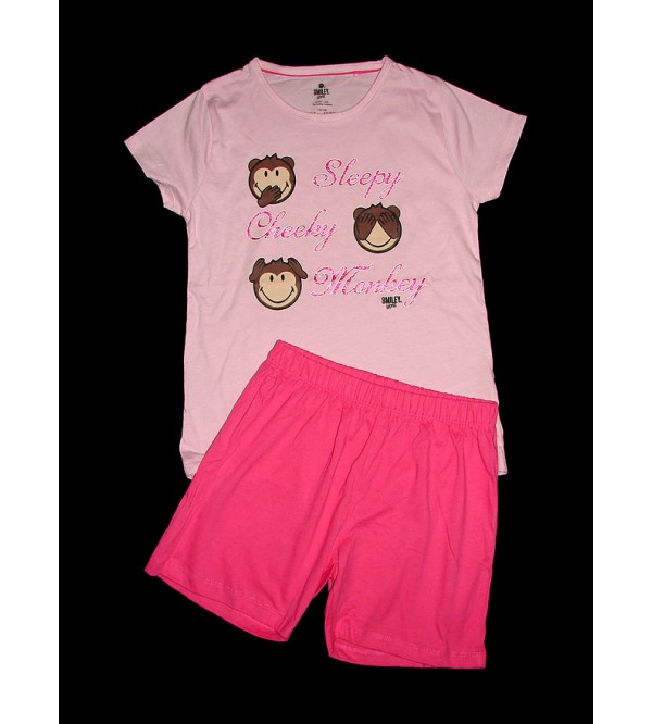 Smiley Girls Printed Shorty Pyjama Set