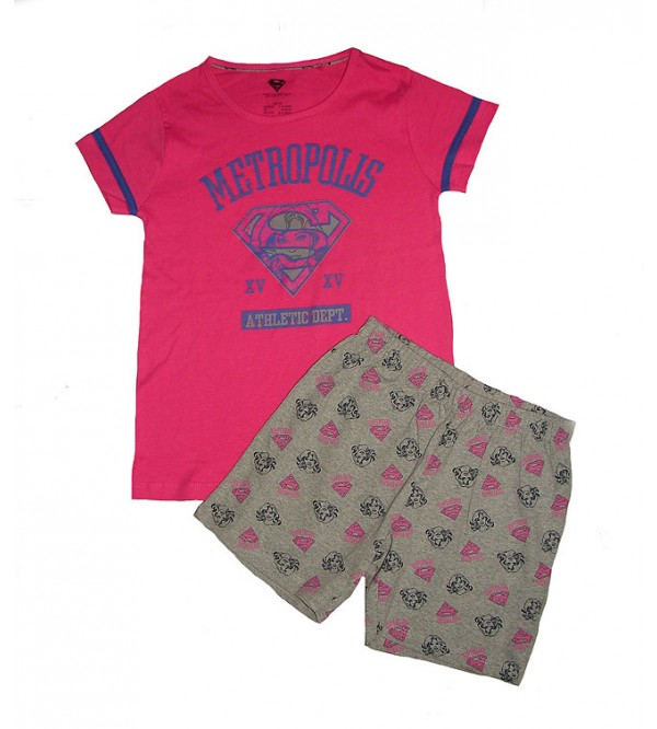 SUPER GIRL Girls Printed Shorty Pyjama Set