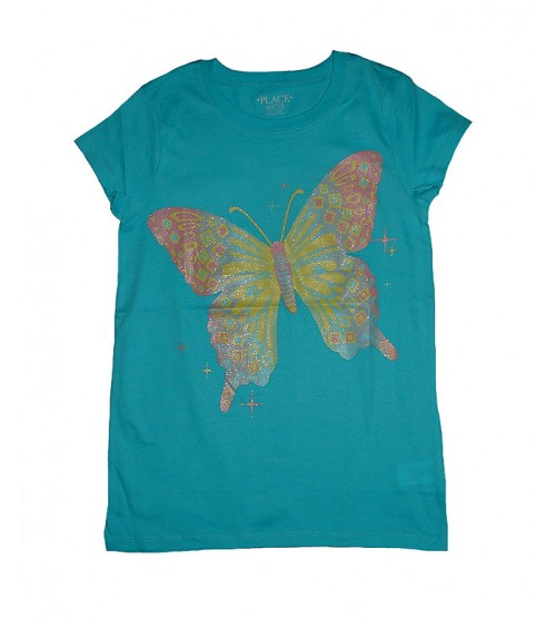 Girls Multihued Butterfly Printed  t-Shirt