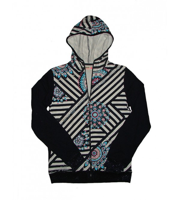 Girls Full Zipper Hooded Sweatshirt With Glitter Print and Striped
