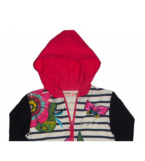 Girls Full Zipper Hooded Sweatshirts With Glitter Print and Striped