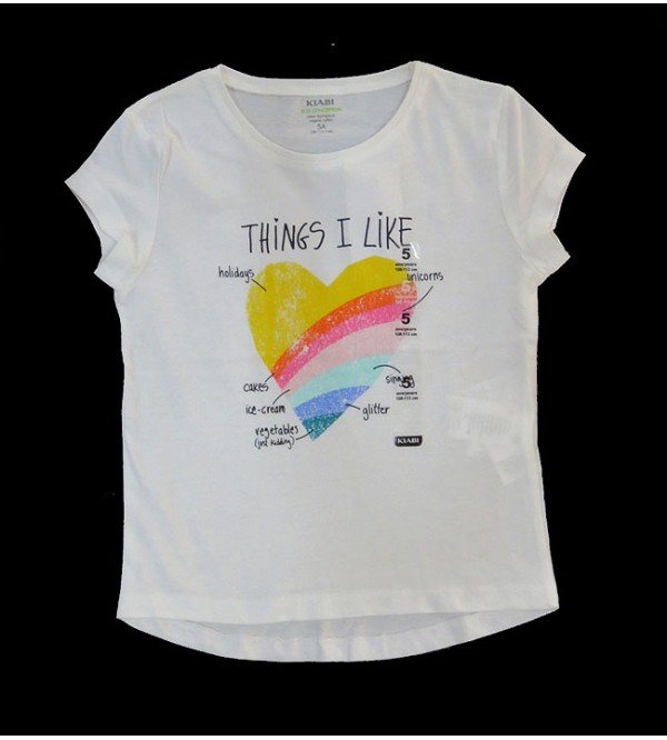 Girls Short Sleeve Glitter Printed T Shirt