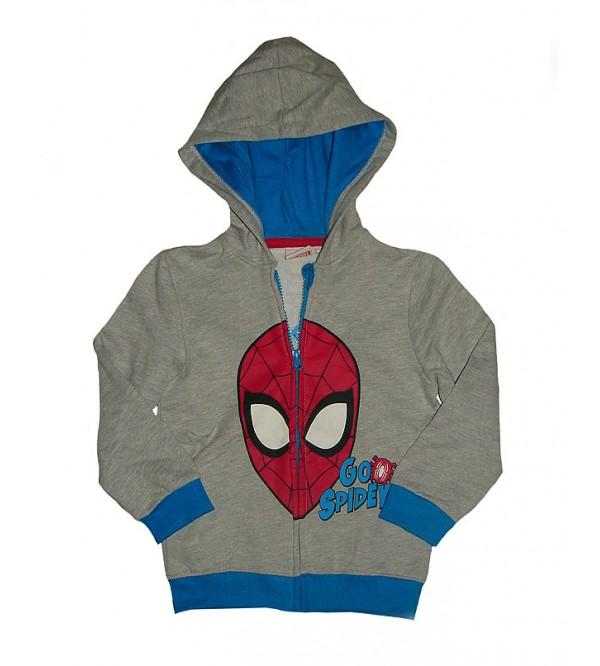 SPIDERMAN Boys Fleece Full Zipper Sweatshirt With Hoodie
