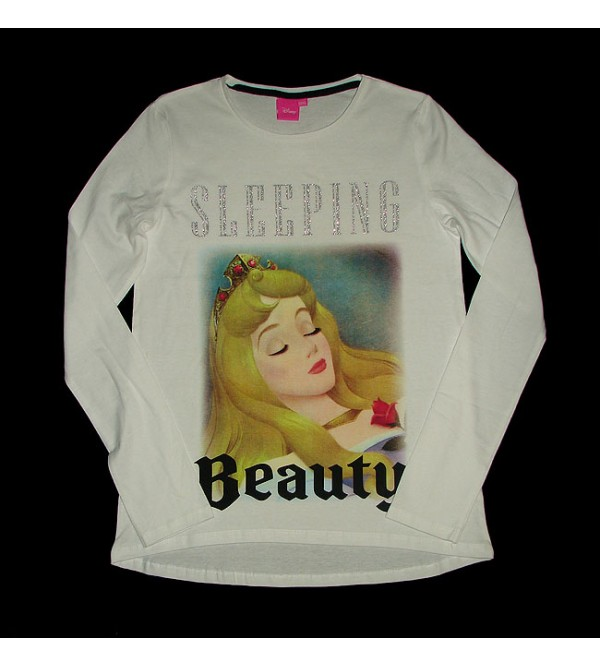 DiSNEY Sleeping Beauty Girls Glitter Printed T Shirt