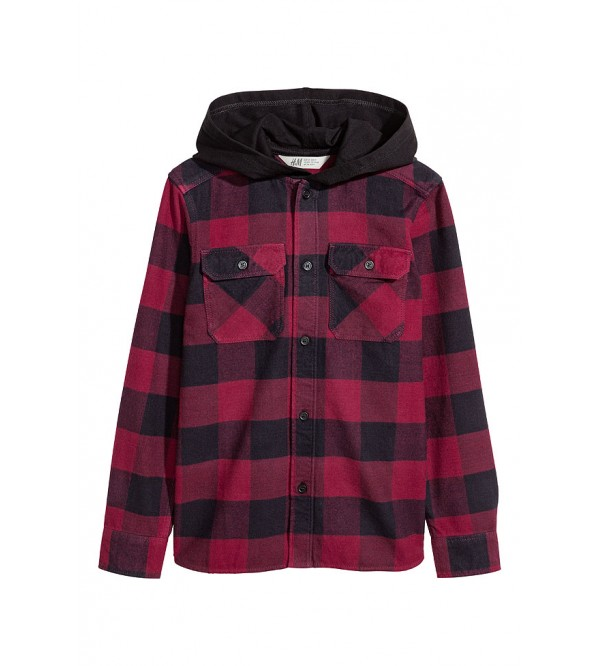 H&M Boys Flannel Woven Shirt With Hoodie