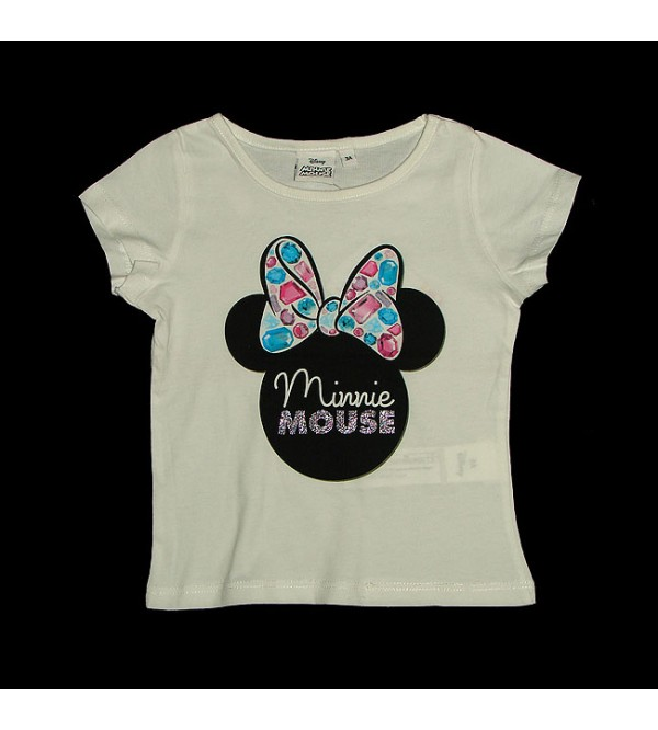 DiSNEY MINNIE MOUSE Girls Glitter Printed T Shirt