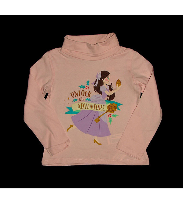 Character Printed Girls Turtle Neck Long Sleeve T Shirts