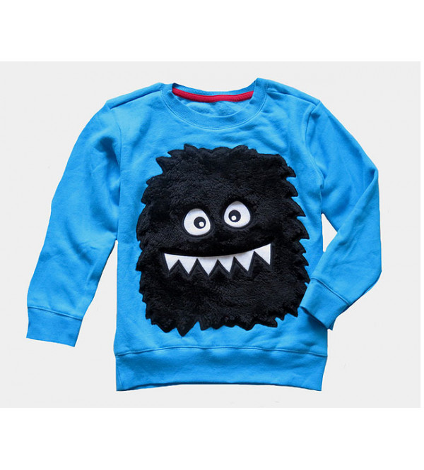 Monster Applique Boys Pullover Sweatshirt
