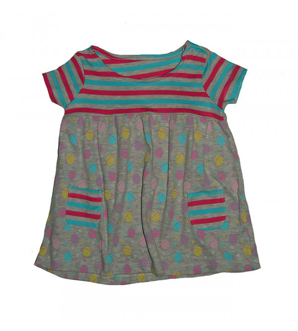 Baby girls multi color printed knit dress
