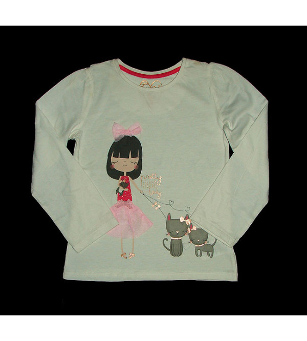 Girls Long Sleeve Applique and Glitter Printed T Shirt