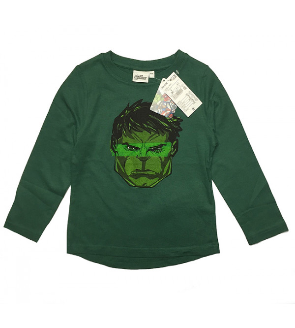 GREEN HULK BOYS LONG SLEEVE T SHIRT