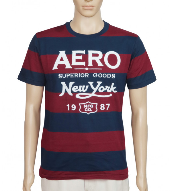 Aeropostale Men's Striped T Shirt With Applique
