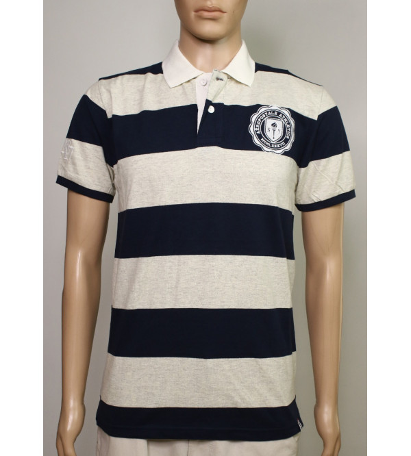 Aeropostale Mens Striped Polo With Applique