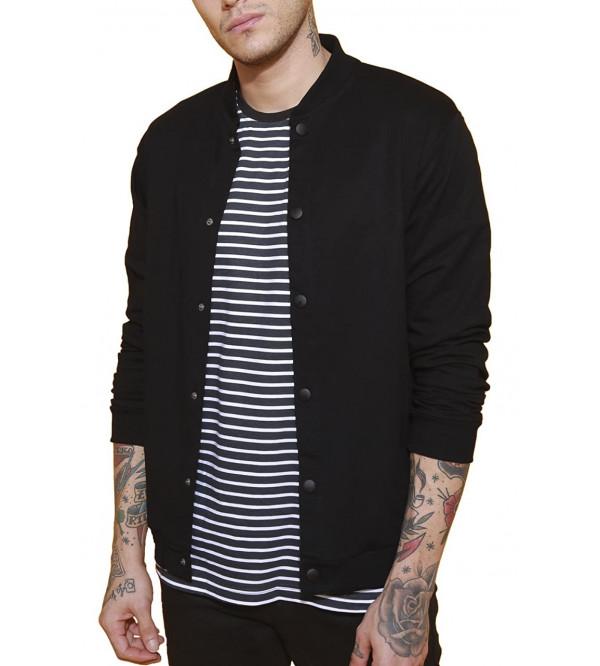 Men's Fleece Buttoned Bomber Jacket