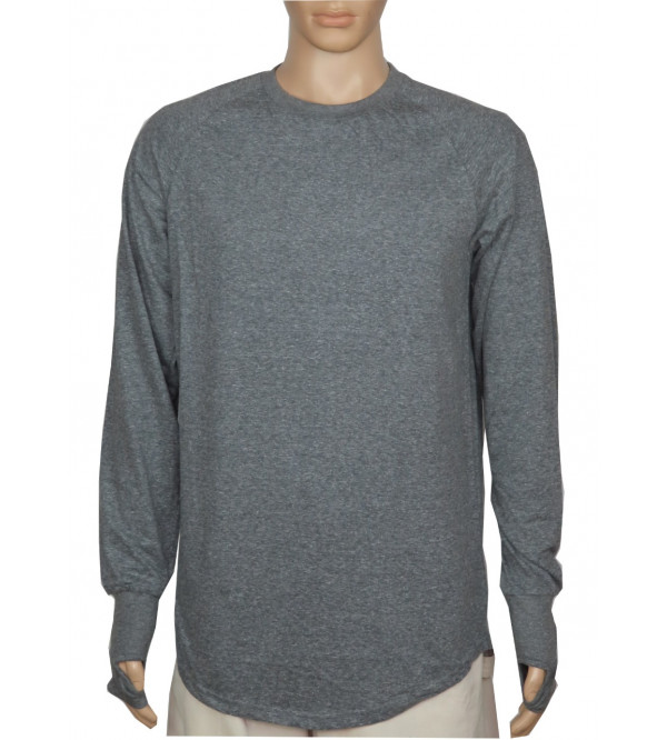 Mens Long Line Slub Knit T Shirt
