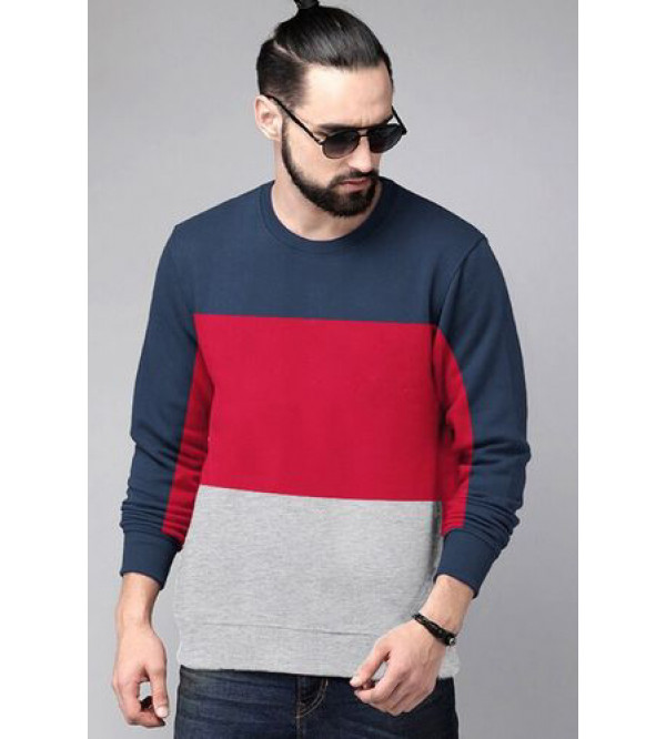 Mens Cut n Sew Fleece Pullover Sweatshirt