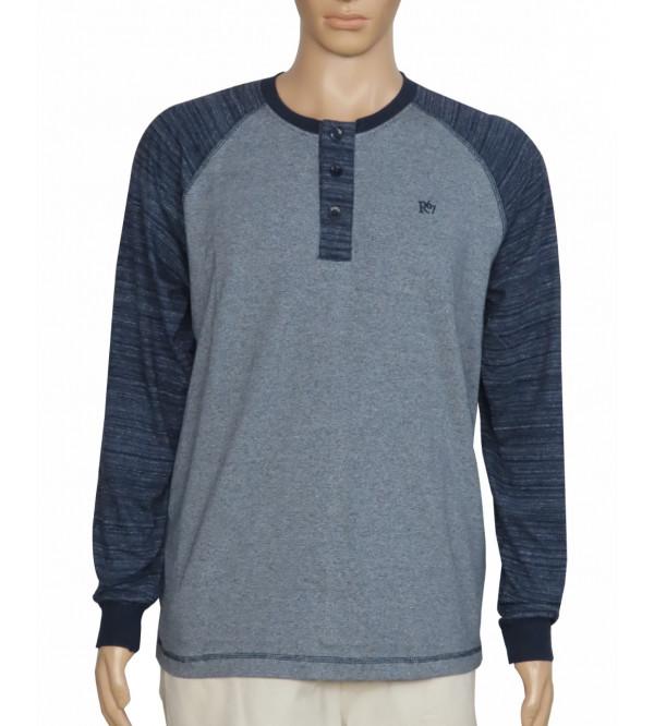 Mens Henley Long Sleeve T Shirt