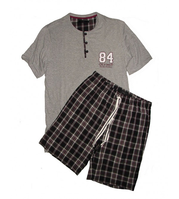 Mens Shorty Pyjama Set with Woven Shorts
