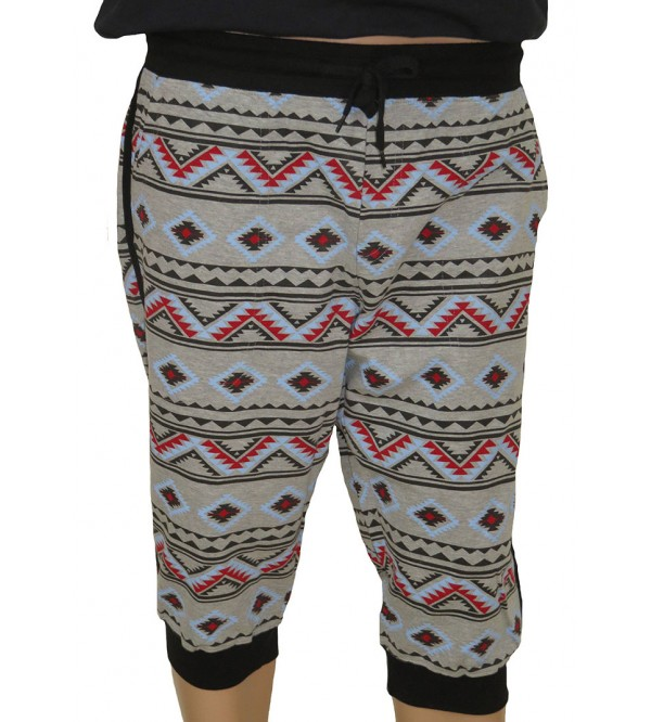 Mens Knit Printed Terry Bermuda Joggers